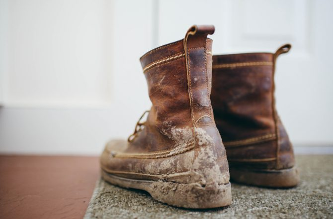 Dirty Boots From A Long Hike